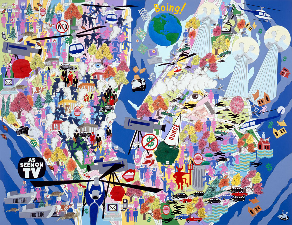 "Four Season: Huff 'n' Puff (Fall 1999)  2001 • Acrylic on canvas, 78"" x 102 (WTO meeting in Seattle, Y2K, Hurricane Floyd, outbreak of West Nile Virus,  Sensations  exhibition at Brooklyn Museum, Elian Gonzales arrives in U.S.)"