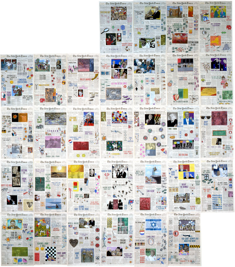 "Front Pages: May 1996  • 1996 • 31 pages of  The New York Times  • Ink and pastel on paper • 21.5"" x 13.5 each, 129"" x 94.5 overall"