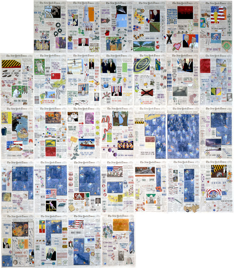 "Front Pages: July 1996 • 1996 • 31 pages of The New York Times • Ink and pastel on paper • 21.5"" x 13.5 each, 129"" x 94.5 overall"