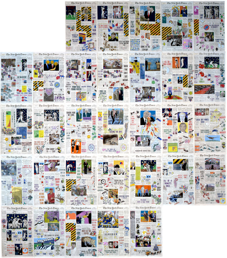 "Front Pages: October 1996  • 1996 • 31 pages of  The New York Times  • Ink and pastel on paper • 21.5"" x 13.5 each, 129"" x 94.5 overall"