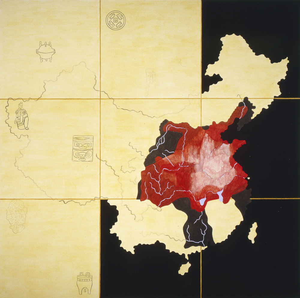 "China I: Prehistory 1766-206 B.C.  1990 • Oil, wax, and acrylic inks on canvas • 84"" x 84"
