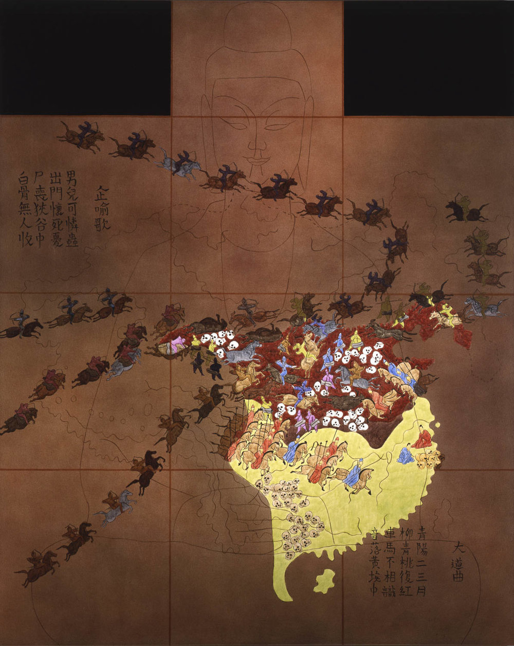 "China III: Era of Division, 316-589 A.D.  1990 • Oil and acrylic inks on canvas • 90"" x 72"