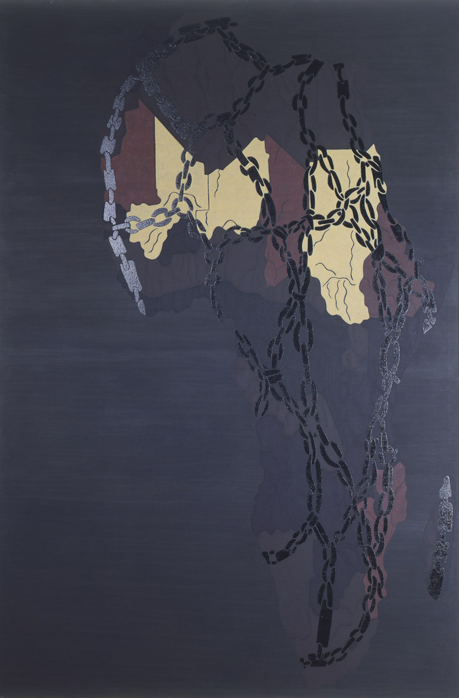 "Famine  1985 • Oil and wax on canvas, 120"" x 78"
