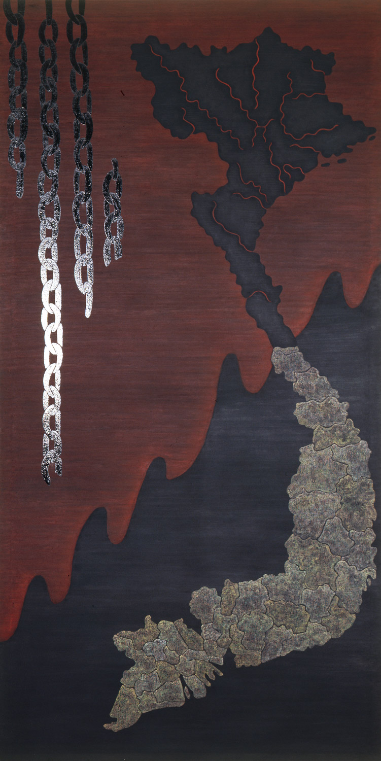 "Vietnam  1985-86 • Oil and wax on canvas, 108"" x 54"