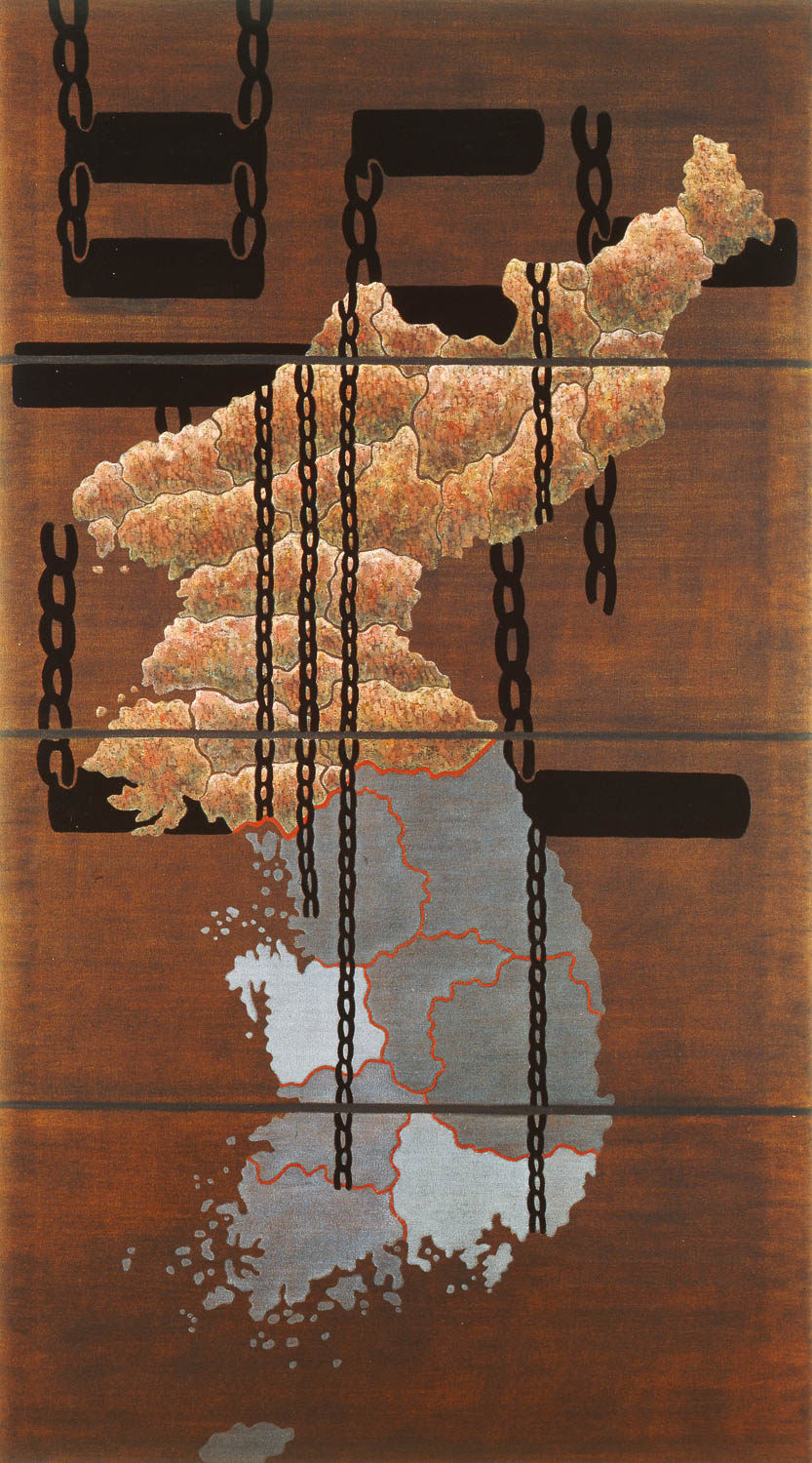 "Korea: Divide and Rule  1985 • Oil and wax on canvas, 108"" x 60"