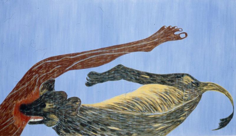 "Hyena  1982 • Oil on canvas, 96"" x 54"