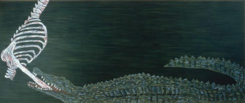 """Crocodile  1982 • Oil on canvas, 67"""" x 162"""