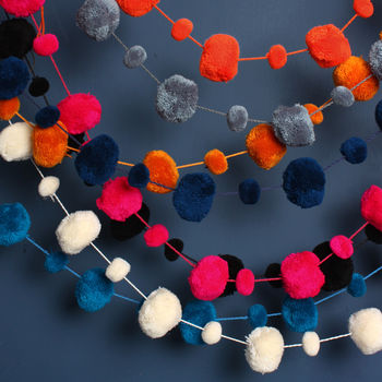 Pom pom garlands from Bohemia (Not On The High Street)