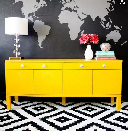 A great yellow sideboard I spotted on Pinterest. Image:  Better Homes and Gardens ,  Pinterest
