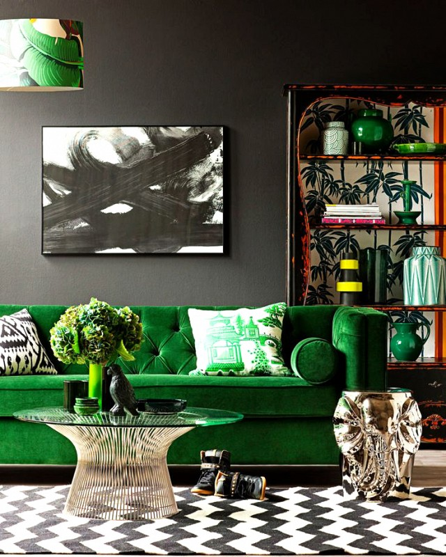 I love the gold base of this coffee table paired with the green velvet. Image from  My Domain . PHOTO:  Interiors by Studio M.