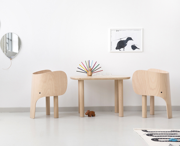 Elements Optimal Elephant chair and table and balloon mirror.