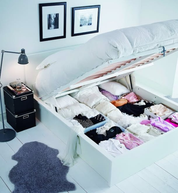 A much better use of under-bed storage than just shoving boxes under there!