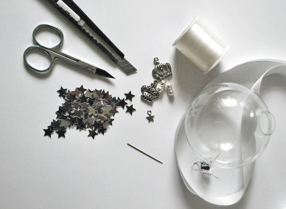 Materials for DIY personaised Bauble Gift