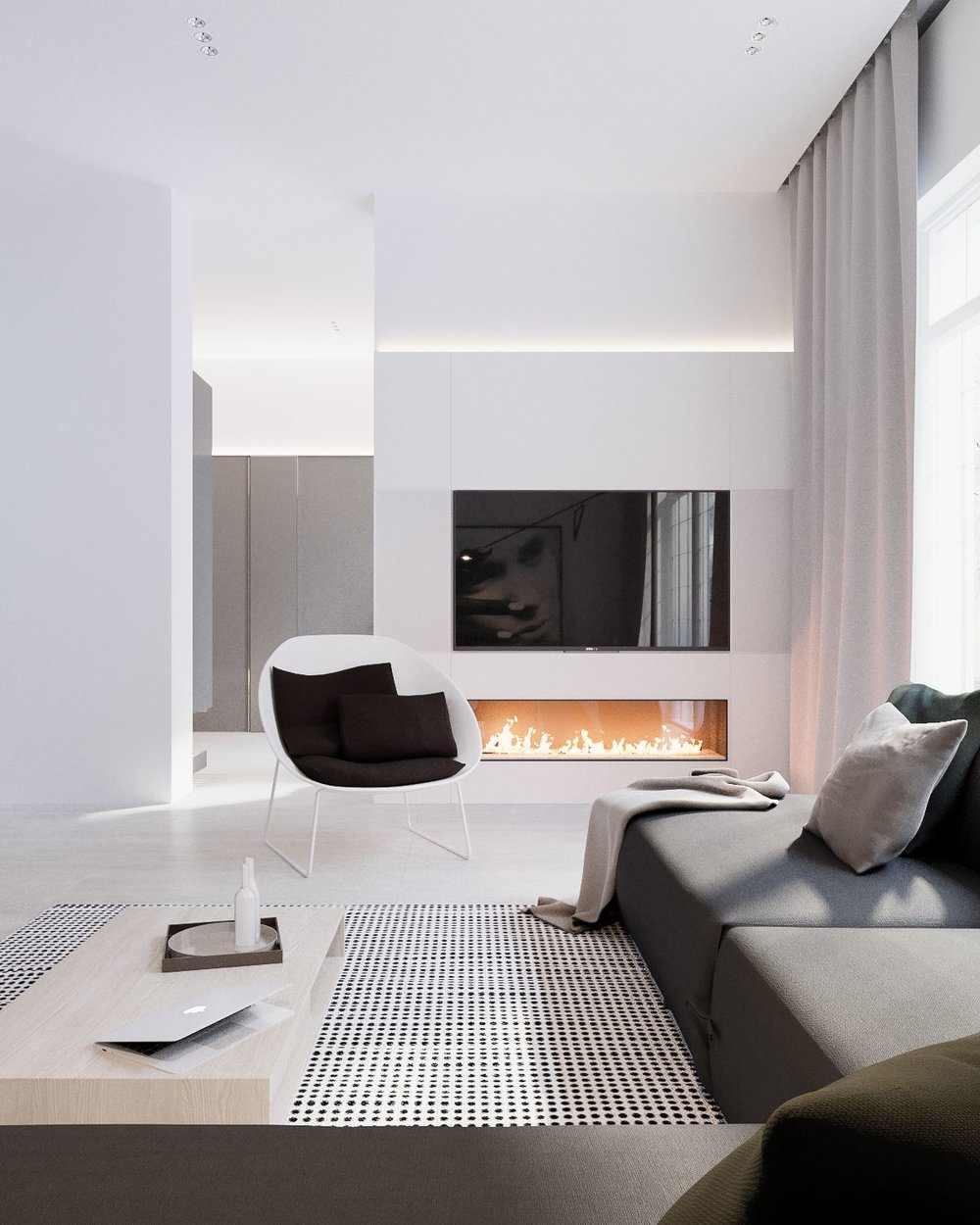 A pared-back modern living room.  Image source.