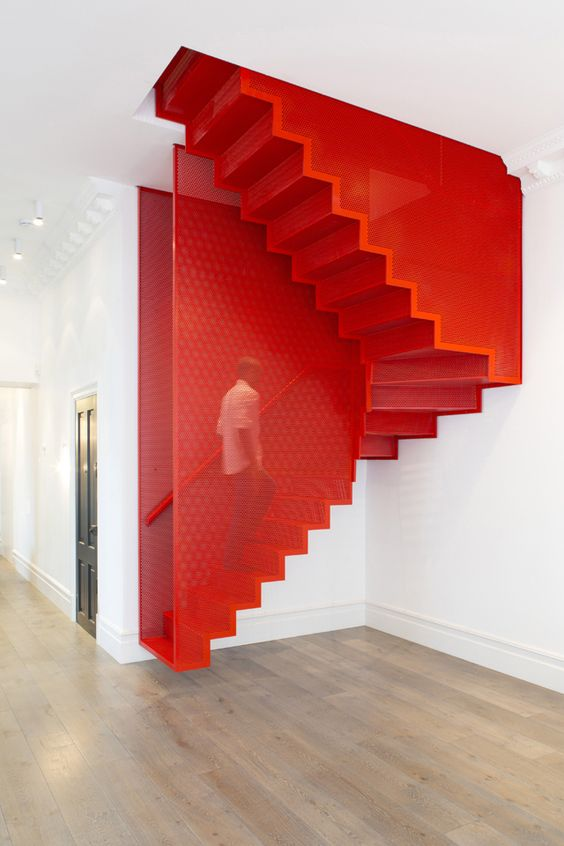 Floating red stairs