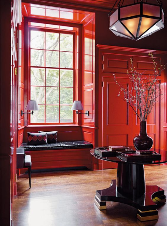 Gloss red wall panelling