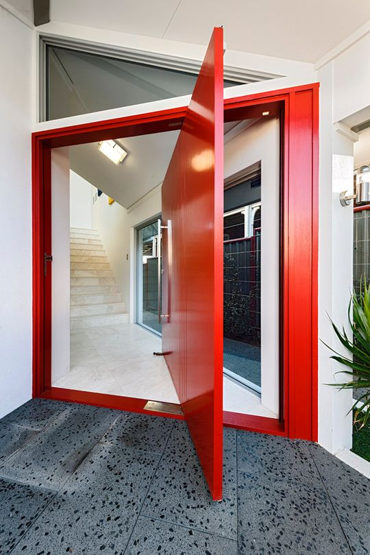 pivoting front door in red