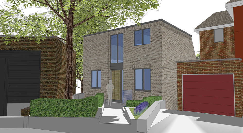 Our architect's 3D drawing of the final design that we gained planning permission for – the result of two complete redesigns following our pre-application advice, and our first application (which we withdrew to make the further changes suggested by the council).