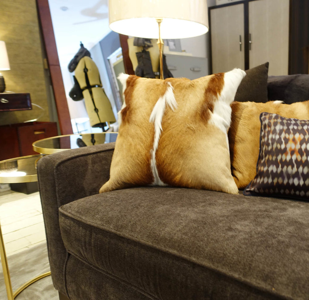 The Springbok hide and Gemma cushions
