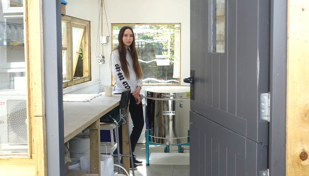 Louise at her Buckinghamshire studio