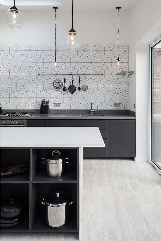 These geometric wall tiles are much more interesting to look at than wall cabinets!
