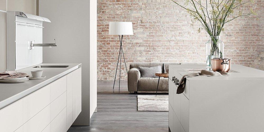 This sleek neutral kitchen is by Balthaup.
