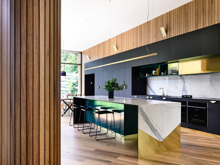 This kitchen in a fantastic mix of materials is by AUHAUS Architecs, Australia