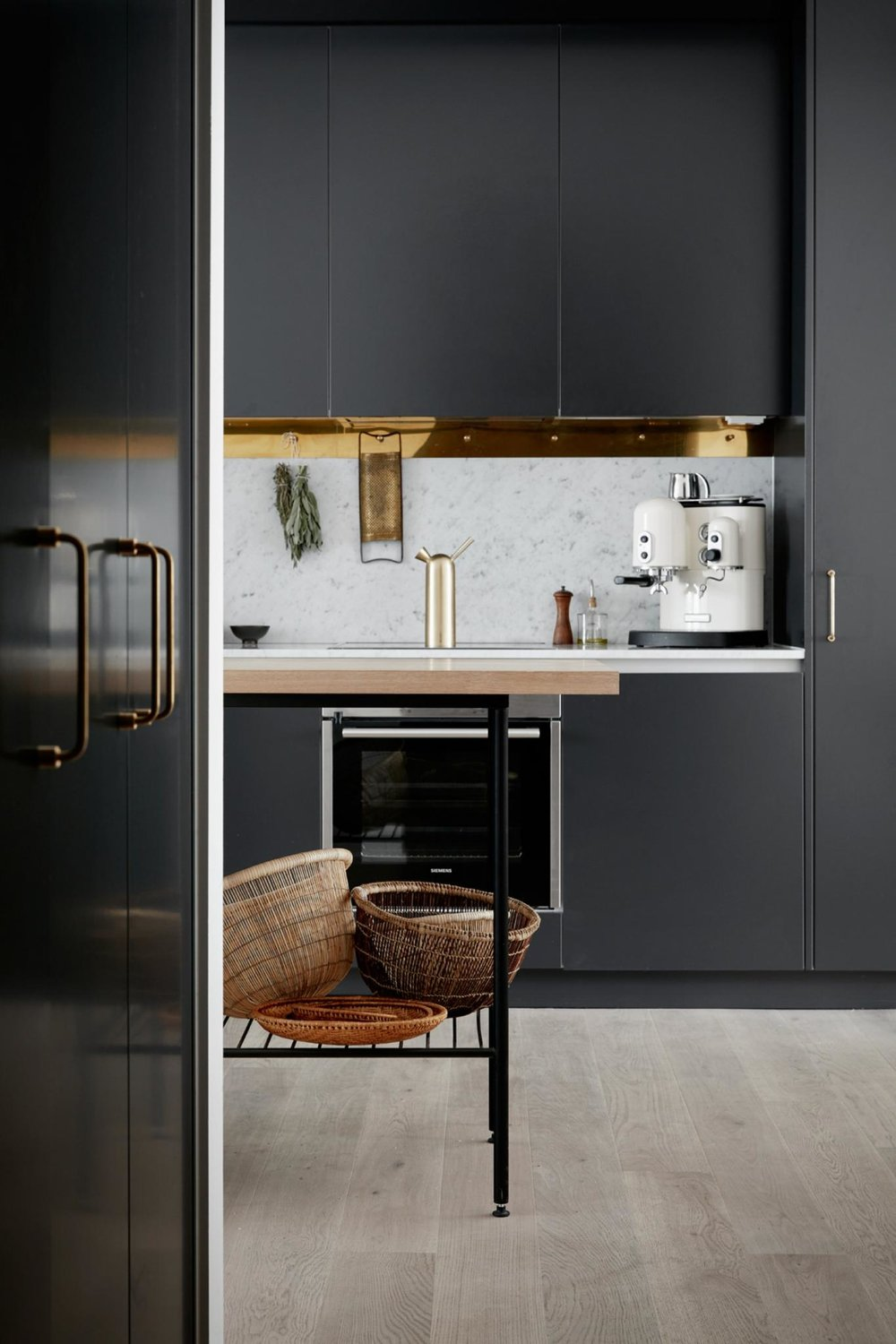 Simple brass detailing like this can easily and retrospectively be added to your kitchen for an instant designer update.