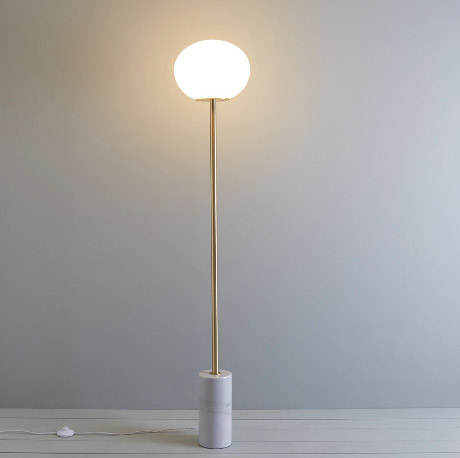 I love the simple lines of this  Kuriko  lamp. It has a solid marble base but has a small footprint, making it a good choice for smaller spaces.