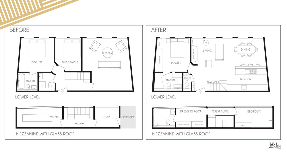 Before and After Floorplans [Click to enlarge]
