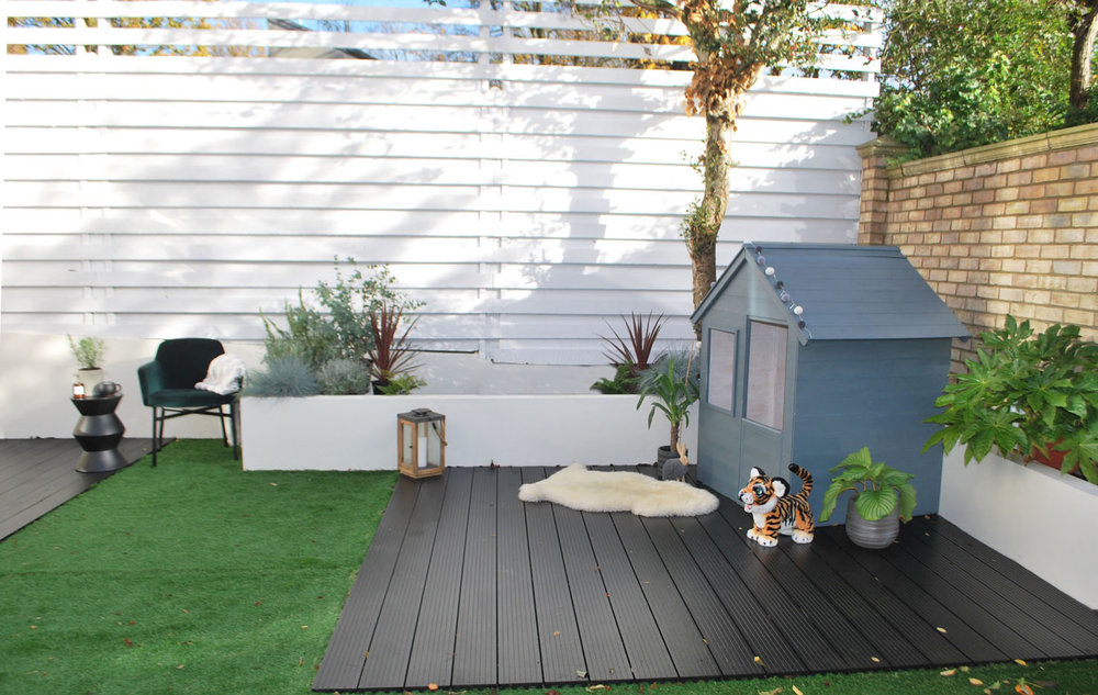 Sandtex's Clay White on the fence, Chalk Hill on the raised beds and Seclusion on the play house