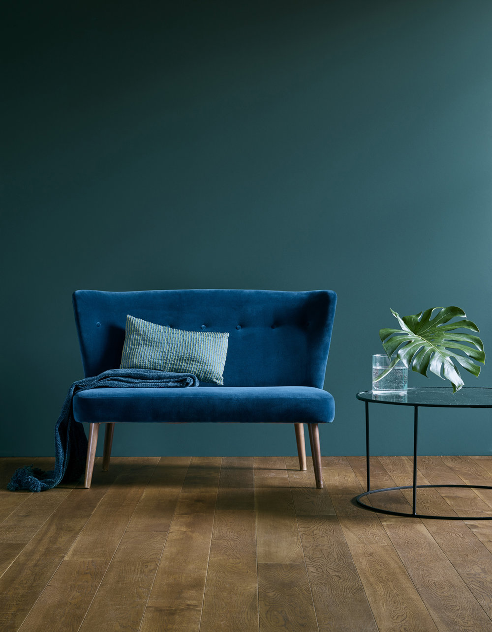 Vie Maison, Rustique Fume wooden flooring looks great next to teal and midnight velvet