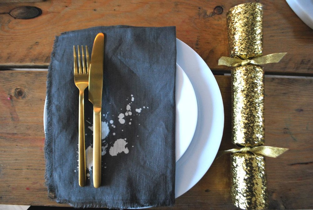 Cutlery is H&M Home. Napkins are Jonathan Adler. Crackers are from Paperchase.