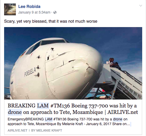 When in fact, the Aviation Herald didn't say this. They said LAM thought it could be, not that it was. There are UAS that conduct surveys within close proximity to the airport currently but a robot wasn't at fault here. Maybe if a robot put the now of the LAM aircraft together? IDK?
