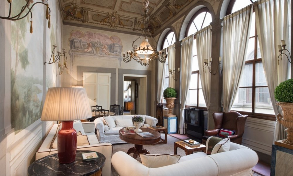 The Living Room with frescoes