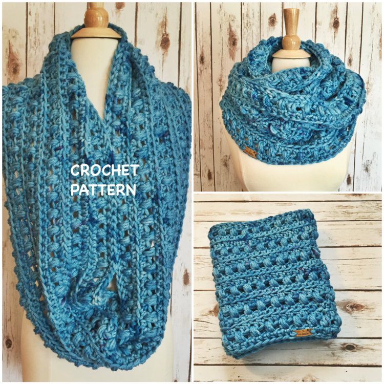 Twilight Puff Stitch Infinity Scarf Crochet Pattern 144 Stitches