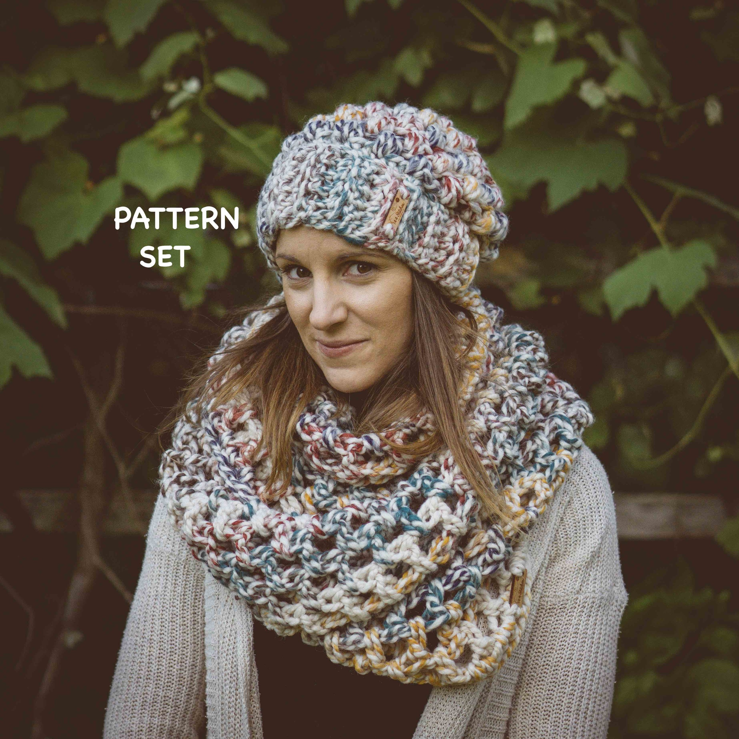 LB Puff Stitch beanie & Ollie Oversized Infinity Scarf Pattern Set ...