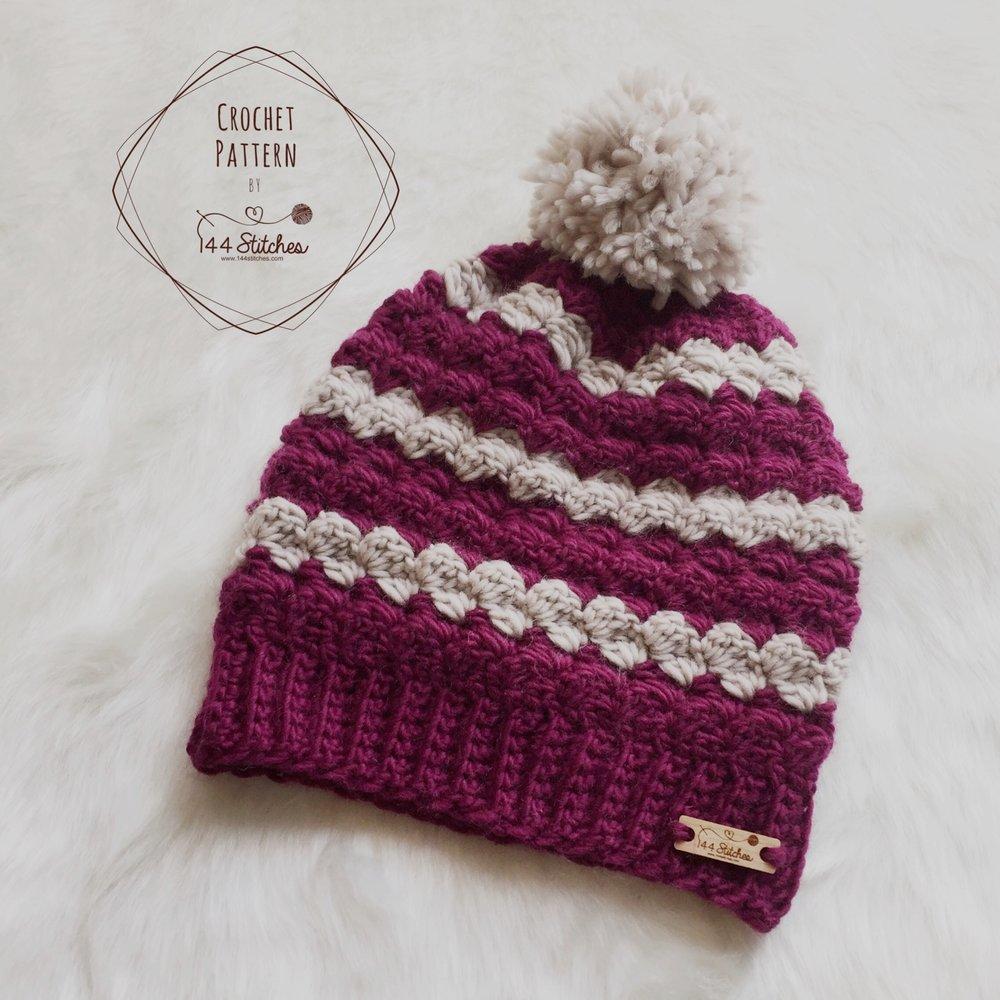 Twin Rivers Beanie Crochet Pattern ? 144 Stitches
