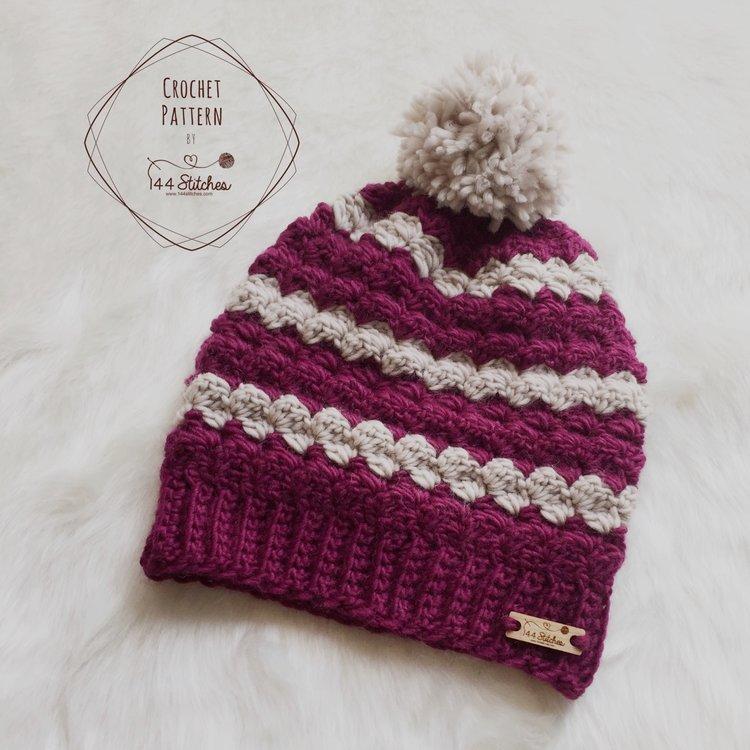 Twin Rivers Beanie Crochet Pattern 144 Stitches
