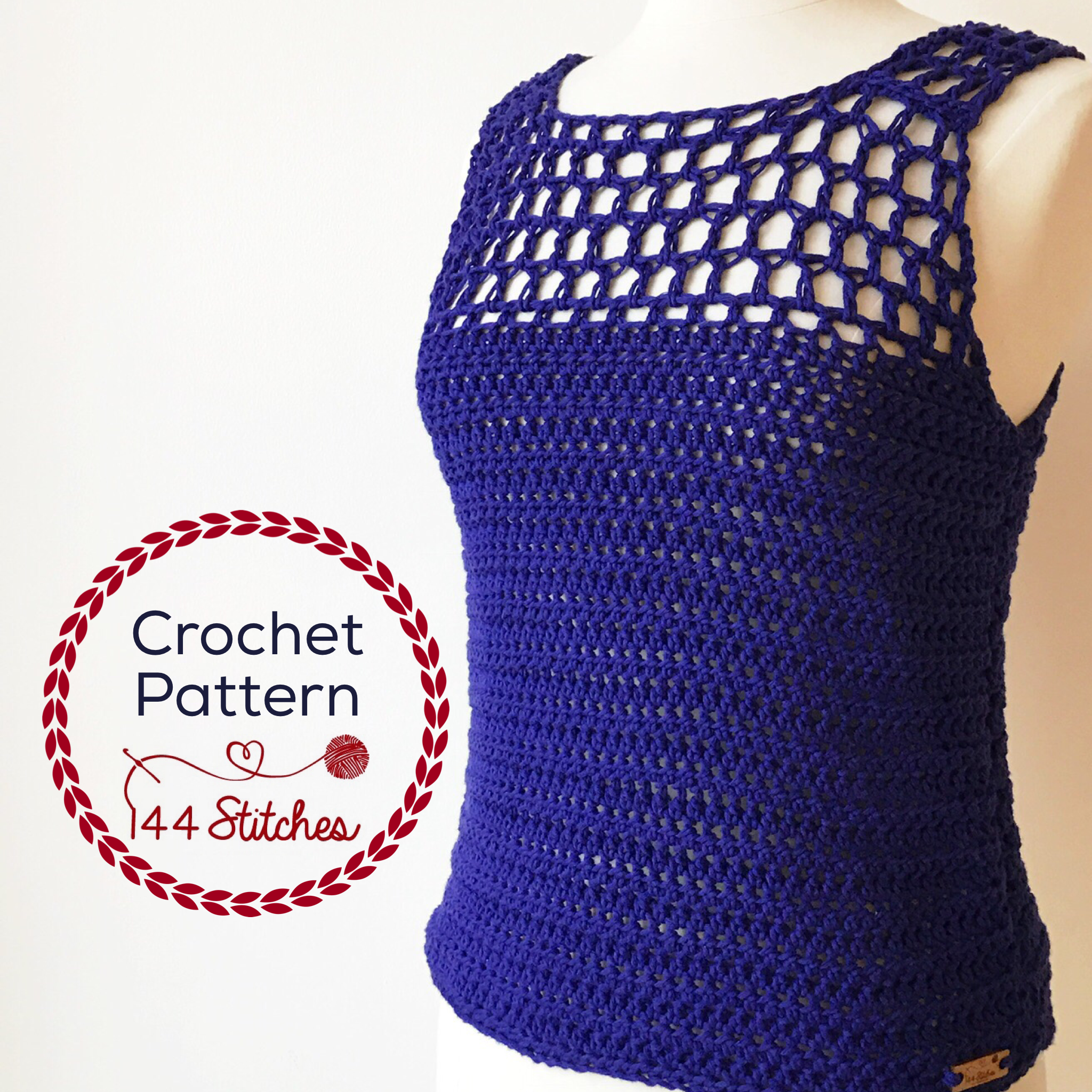 Catalina Tank Top Crochet Pattern 144 Stitches
