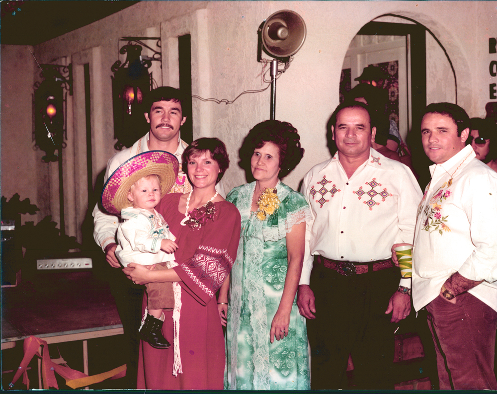 George, Tim (age 2), Mary, Isabel Poncho and Ralph Vasquez (1977)