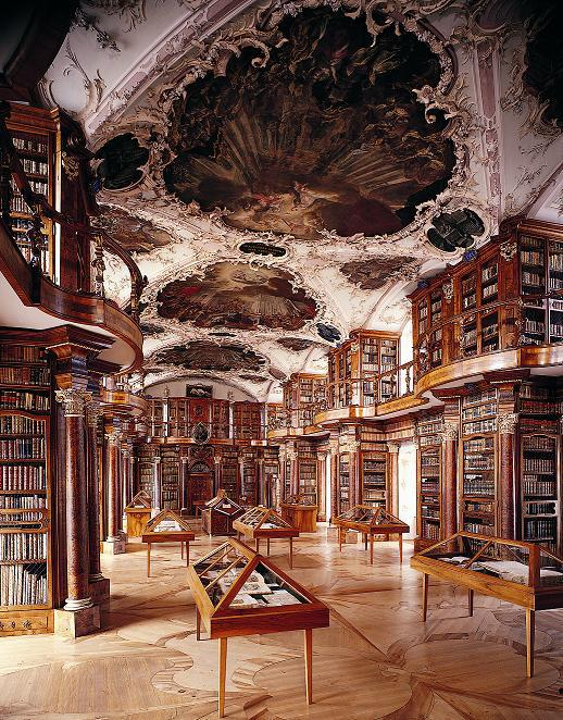 Photo and more great info on the library found here:  http://www.electrummagazine.com/2011/02/mapping-history-the-abbey-library-of-st-gall/