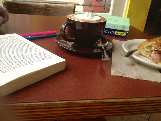 Political science reading is so much better with an extra whipped-creamy mocha and a ham and cheese croissant!