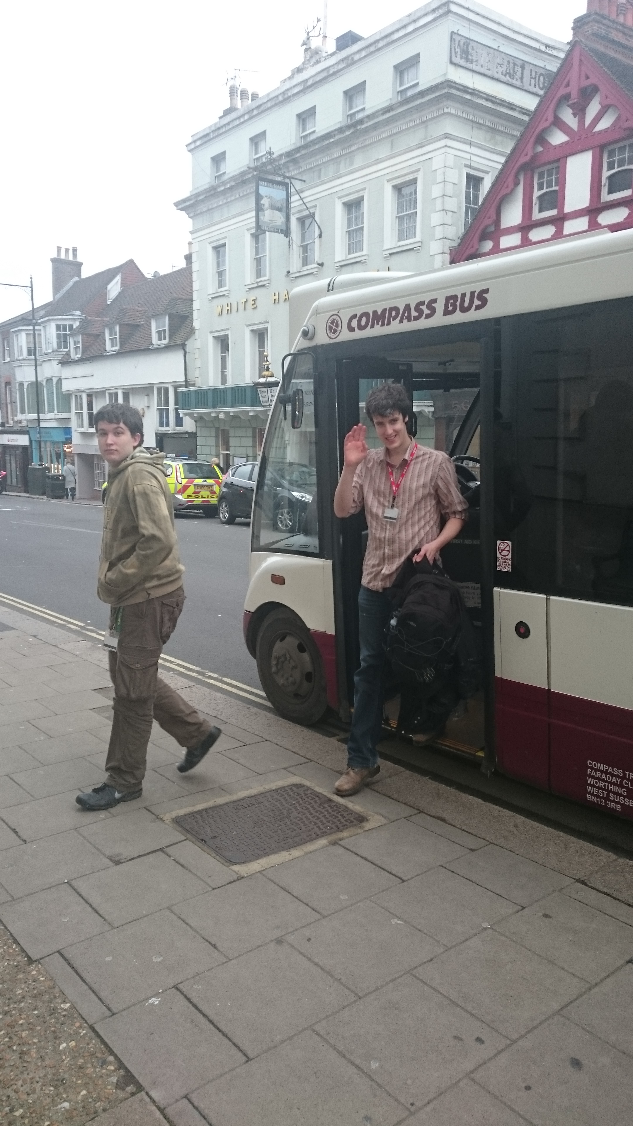 Plumpton interns arriving in Lewes by bus