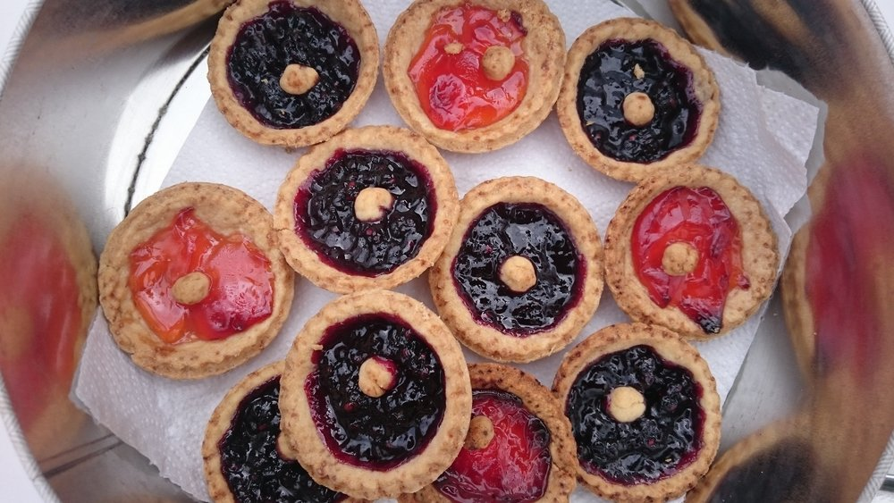 Bramble jam and crab apple jelly tarts