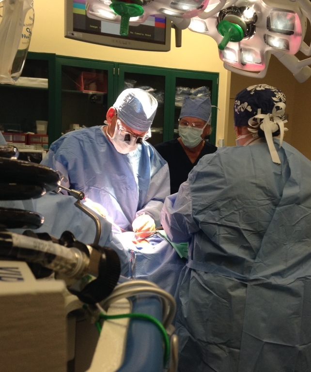 Dr. Tapper operating on carotid artery