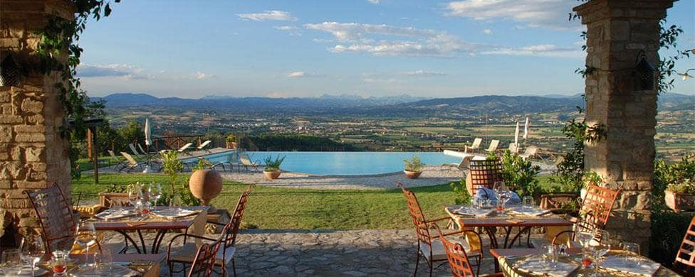 The view from the main dining area at our villa in Umbria.