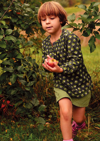 Children apple picking at Tree-Mendus Farm. Photographs by Lucas Landis.
