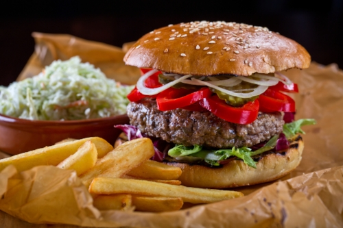 Burger Image by mateusz gzik/Shutterstock   Goat Image by   predgragilieyski    /Shutterstock