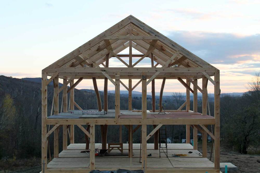 The making of a timber framed home, roofline - Berkshire Mountain Design Build, LLC